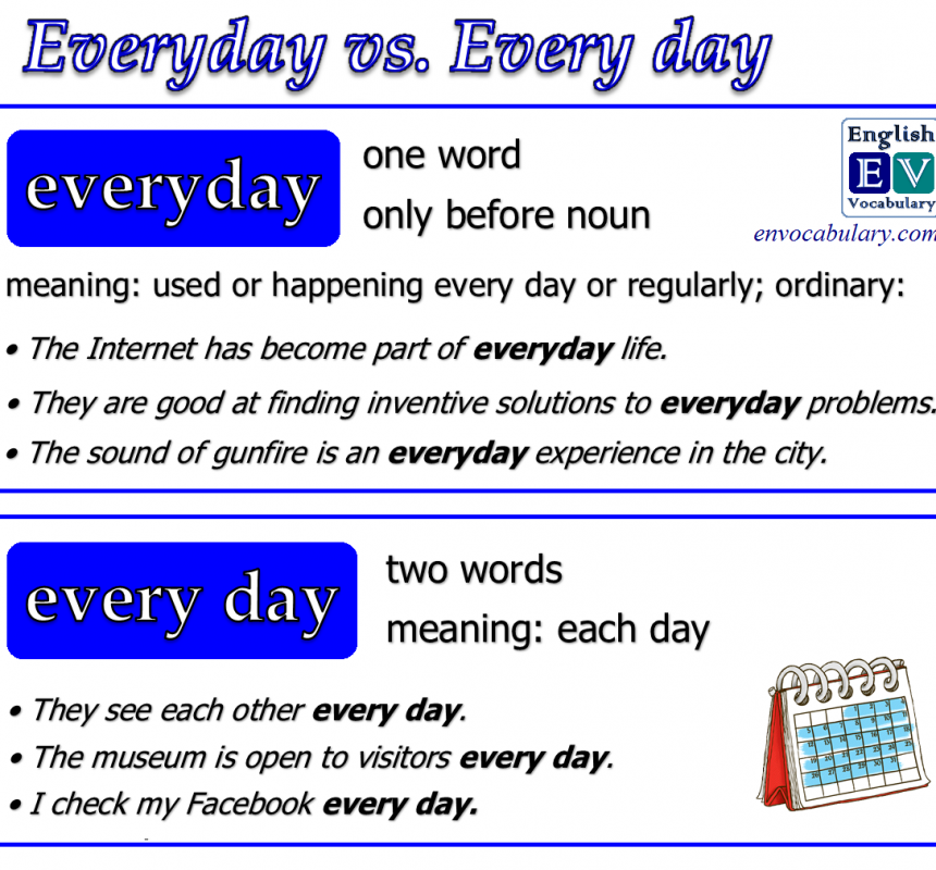 Everyday vs. every day   Learn english words, Learn ...