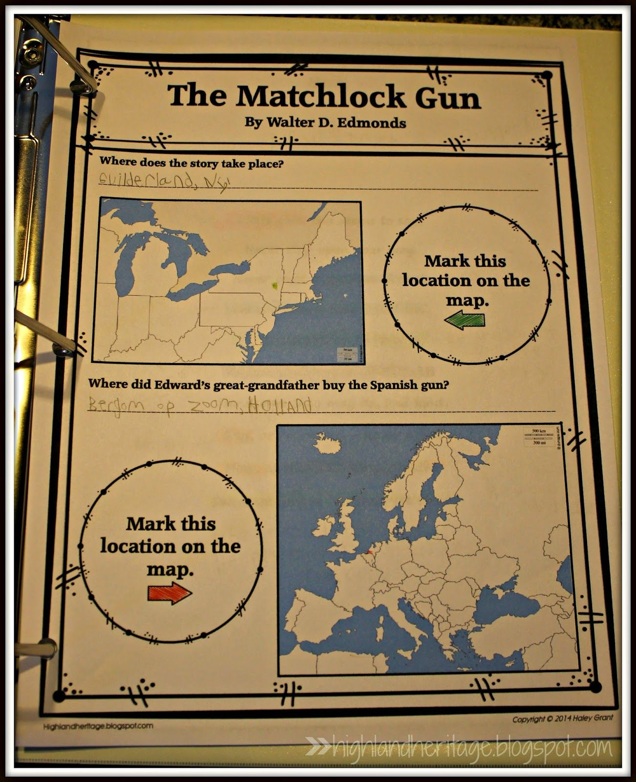 FREE enrichment worksheet for The Matchlock Gun | Book Inspired ...