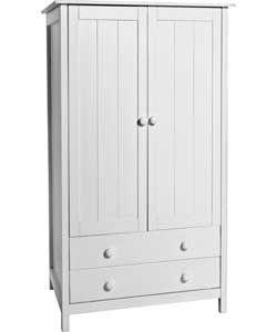Kids Scandinavia 2 Door 2 Drawer Wardrobe White Tall Cabinet Storage Storage Cabinet Tall Storage