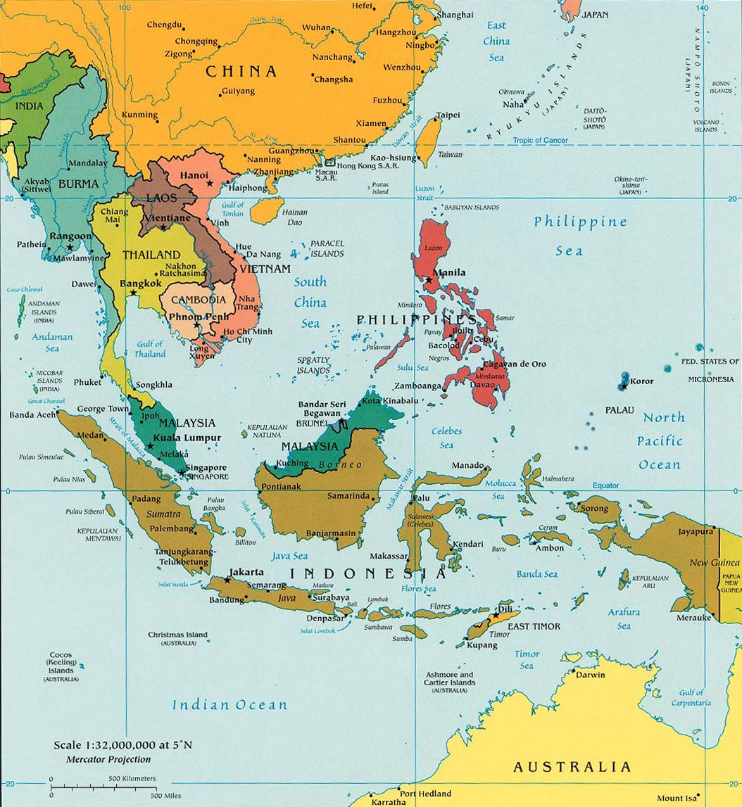 Map of Southeast Asia Indonesia Malaysia Thailand On China by