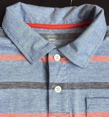 Old-Navy-Boys-Polo-Shirt-Size-10-12-Large-Cotton-Collar-Blue-Striped-Red-Black