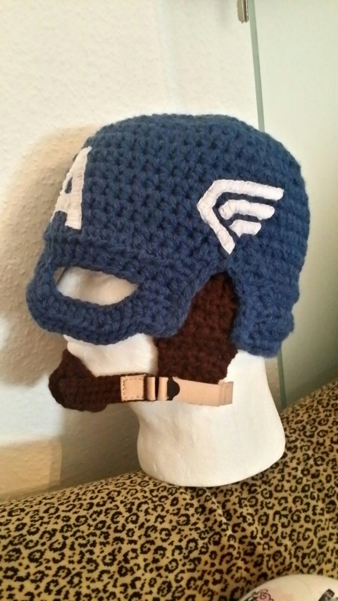 Crochet Captain America helmet | crochet patterns free | Pinterest