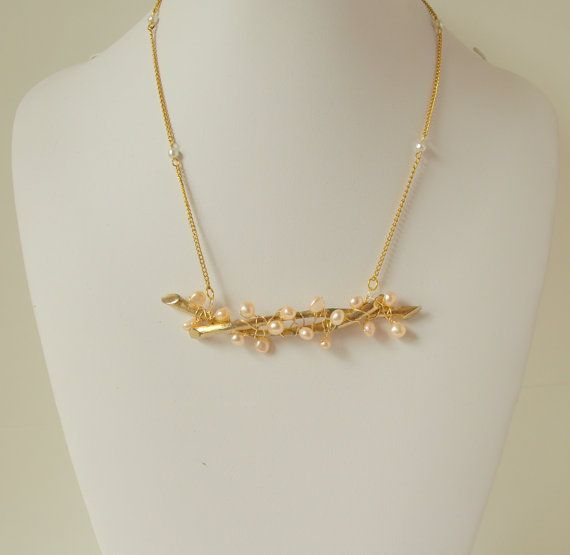 Garden of Eden : Golden Fresh Water Pearl Berry Branch Necklace via Etsy by Foxine