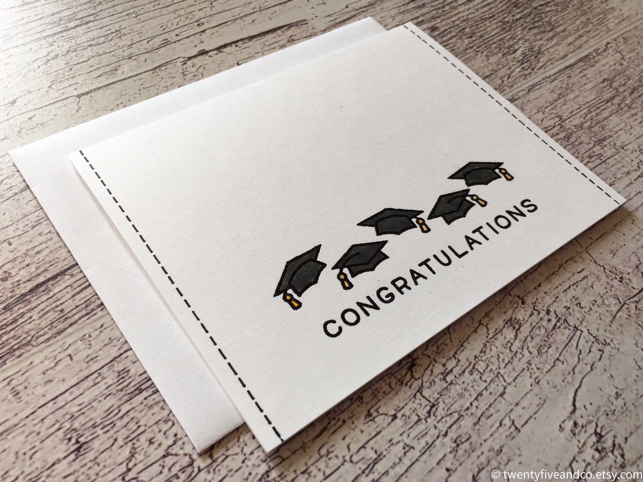Photo of SINGLE CARD – Hand Painted Watercolor Graduation Card, Minimalist Congratulations Card for Graduation, Handmade Graduation Card