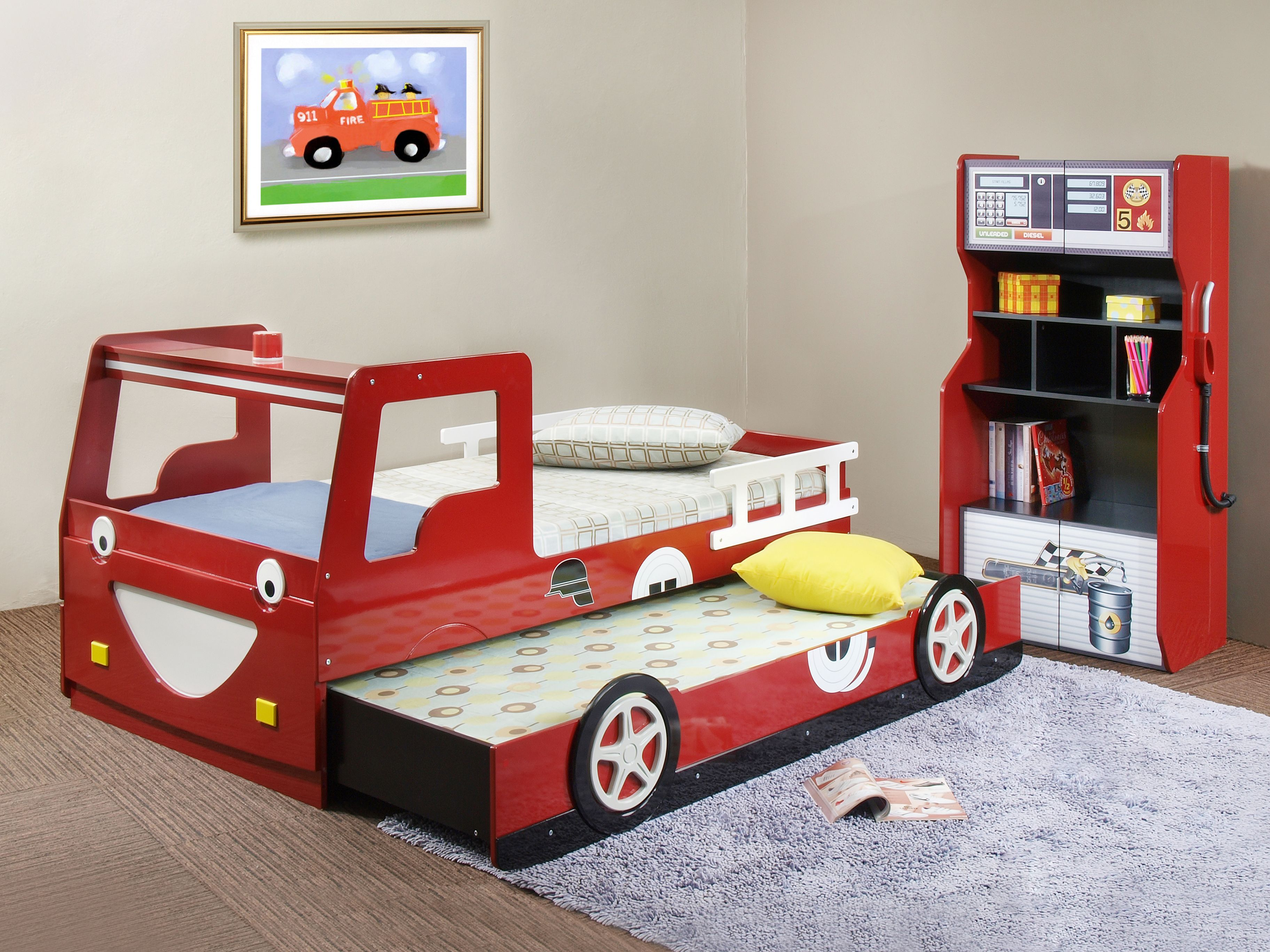 Bedroom Design, Amazing Kids Bed With Racing Cars Models And Other  Vehicles: Red Fire Truck Bed With Trundle Kids Bed