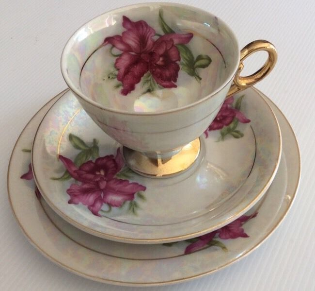 Japan Trio Cup Saucer And Cake Plate Orchid Designs Gold ...