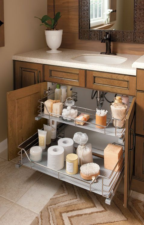 Brilliant Way To Organize Under The Sink In A Small Bathroom 2 Organized Pull Out Shelves Give Lot More E Of Organization And Storage
