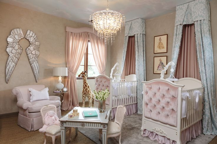 Angelic Nursery With Angel Wing Wall Decal And Twin Beds Afk Furniture Luxury Baby Furniture Kids Baby Room Trends Luxury Baby Nursery Twin Baby Rooms