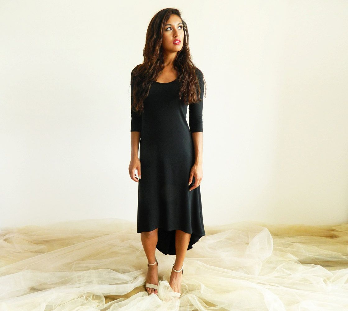 Ml length sleeve high low black maxi dress lbd little black