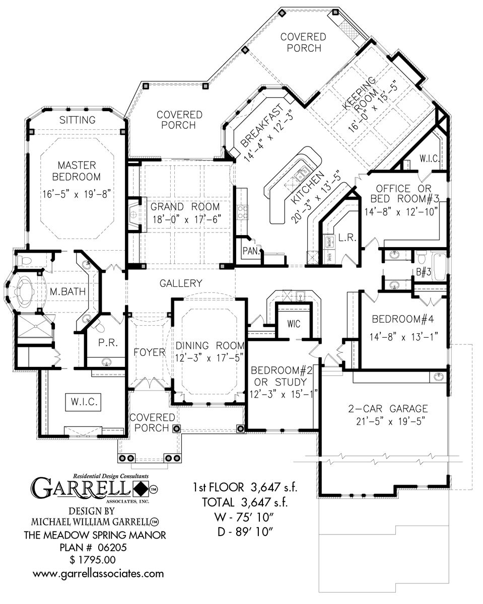 Meadow Spring Manor House Plan 06205 1st Floor Plan Traditional House Plans Ranch House Plans House Plans Floor Plans House Floor Plans