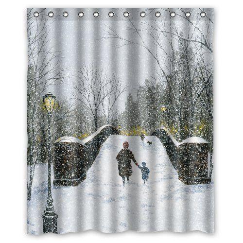 Custom New York City Central Park Winter Christmas Shower Curtain