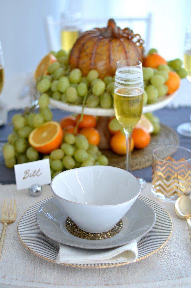 Modern Grey, Silver and Gold Thanksgiving Table using crate and barrel dinnerware collection, west elm gold flatware and Audrey by Brian Gluckstein and Lenox Dinnerware