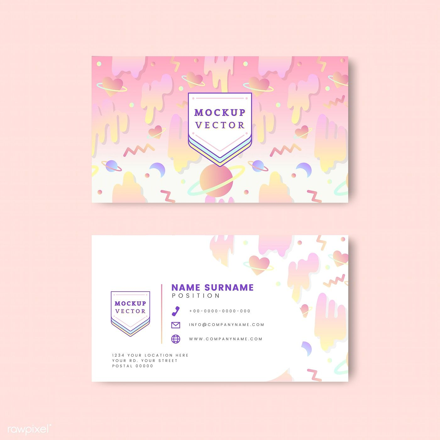 Download Premium Vector Of Pastel Name Card Mockup Vector 513043 Free Business Card Templates Name Card Design Business Card Design Minimal