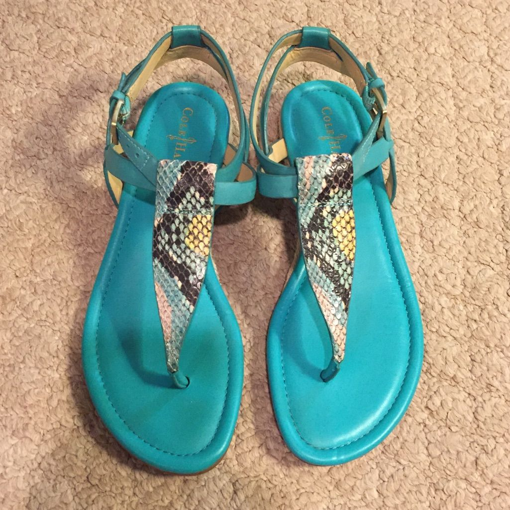 Cole Haan Blue Snake Skin Thing Sandals
