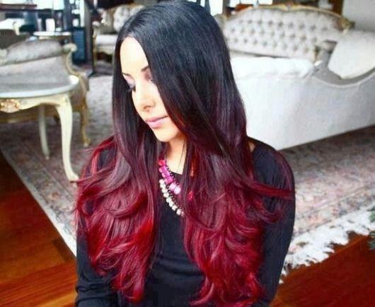 ombre,hair,vermelho,vinho