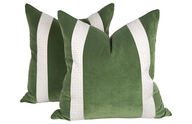 Sage Velvet Greek Key Pillows Pair Greek Key Pillow Green Velvet Pillow Pillows