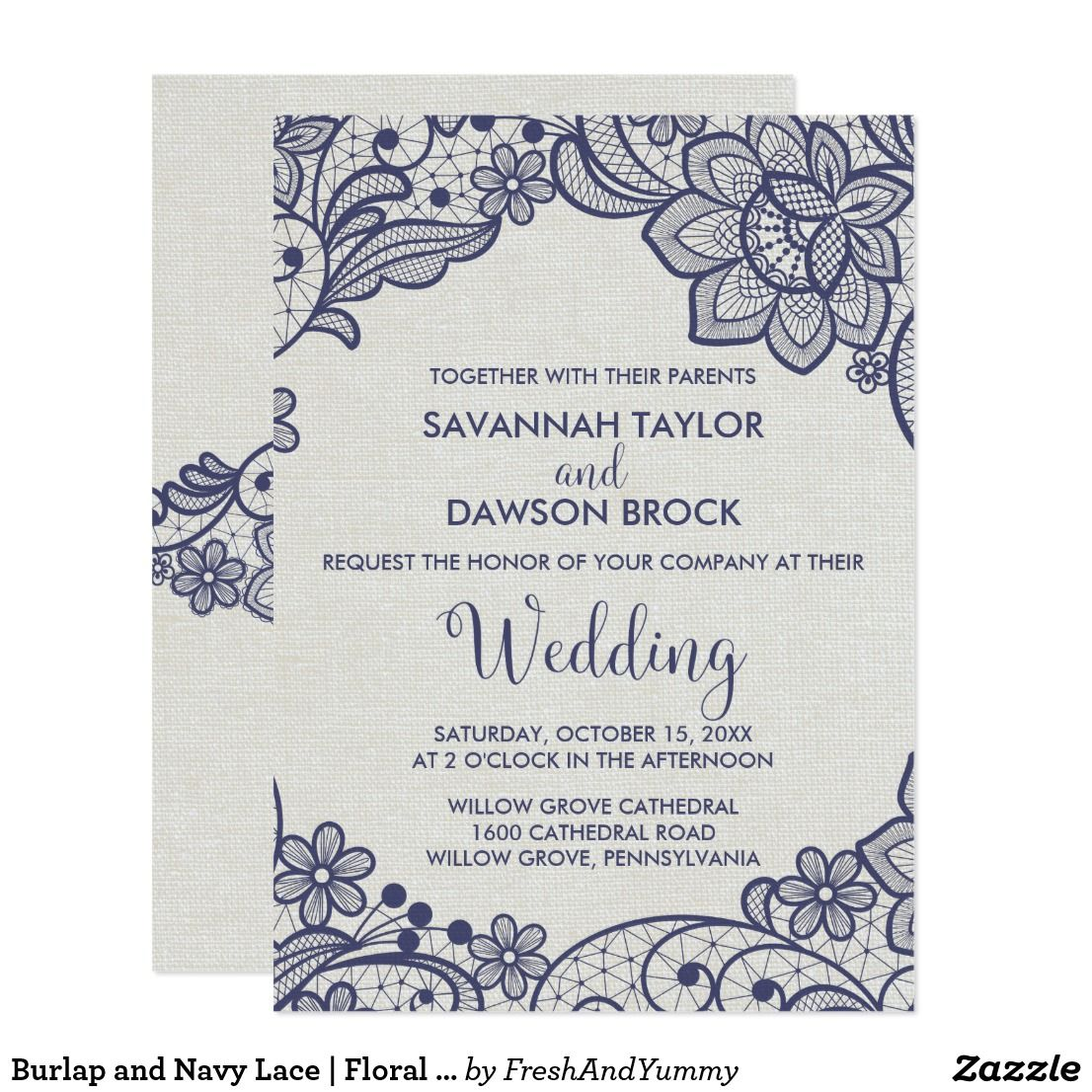 Burlap and navy lace floral wedding invitation wedding lace