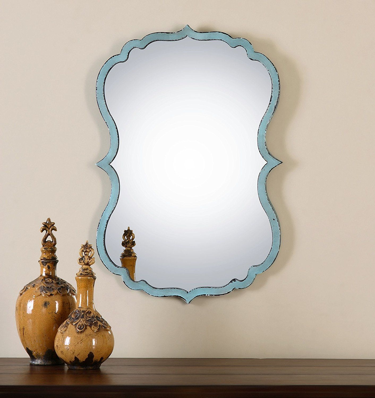 Unusual Curved Shaped Light Blue Wall Mirror   Bathroom Vanity ...