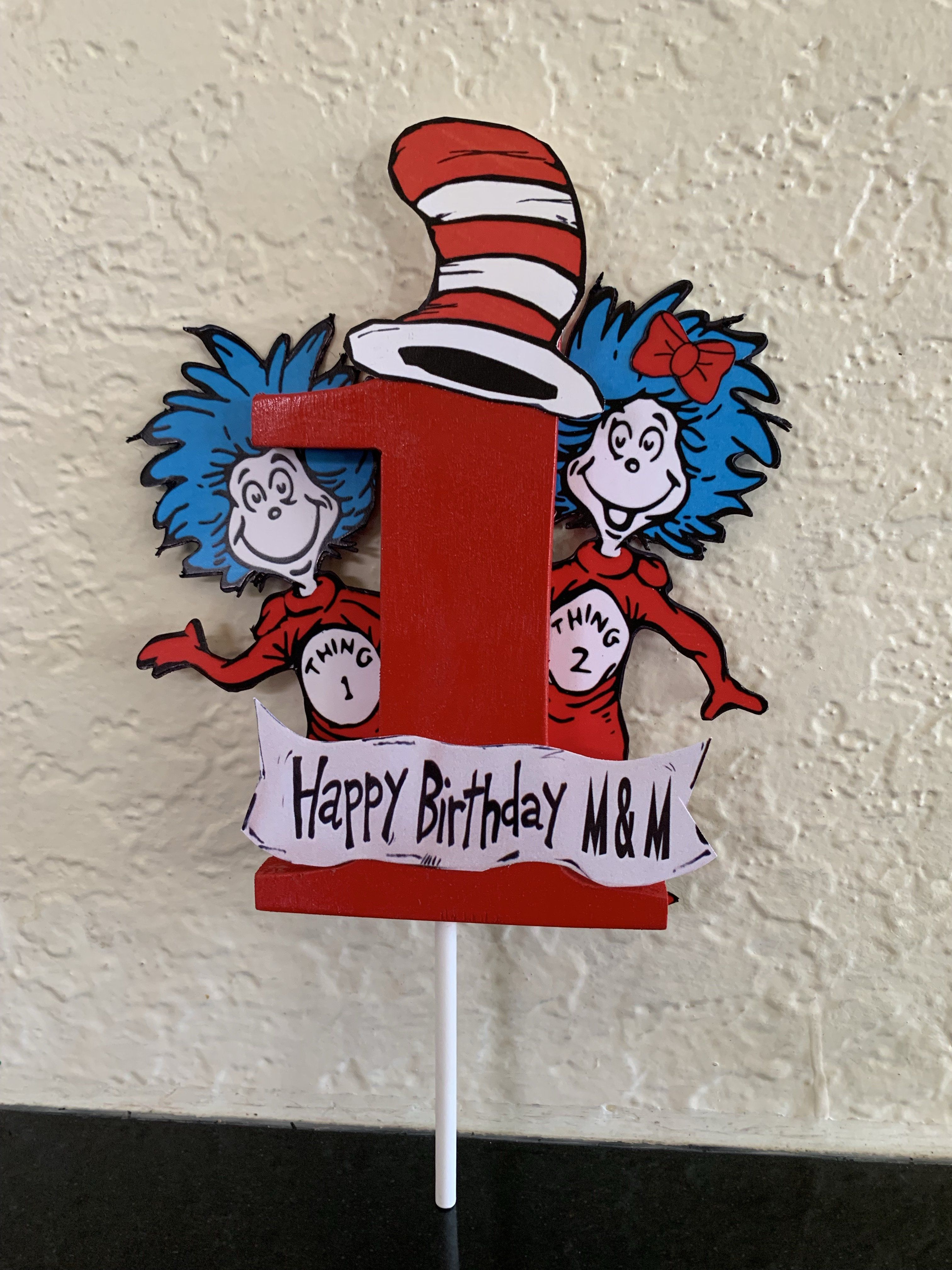 Admirable Thing 1 And 2 Dr Seuss Cake Topper With Wooden 1 Dr Seuss Personalised Birthday Cards Epsylily Jamesorg