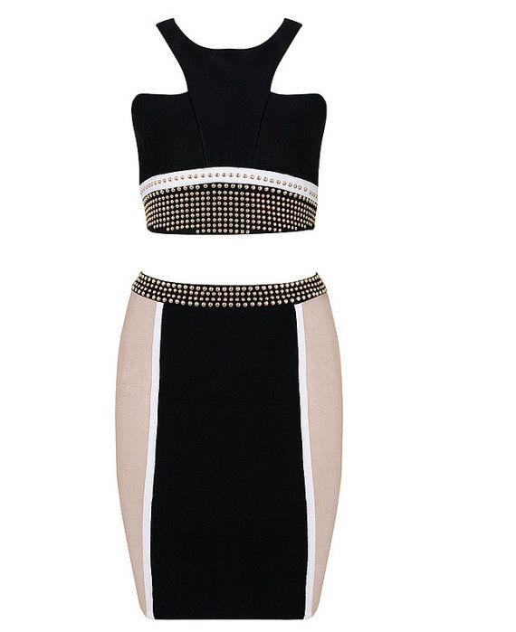 Celebrity bandage bodycon boutique two-piece dress in Black/White/Nude on Etsy, $121.63 AUD