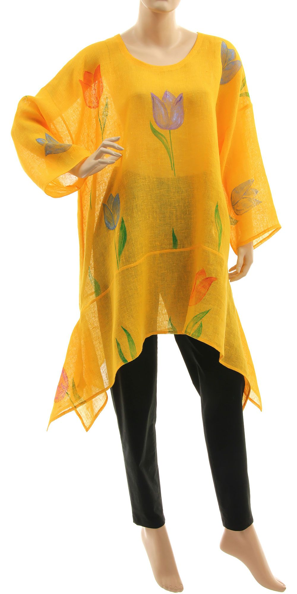 Hand painted plus size tunic with tulips, yellow linen gauze