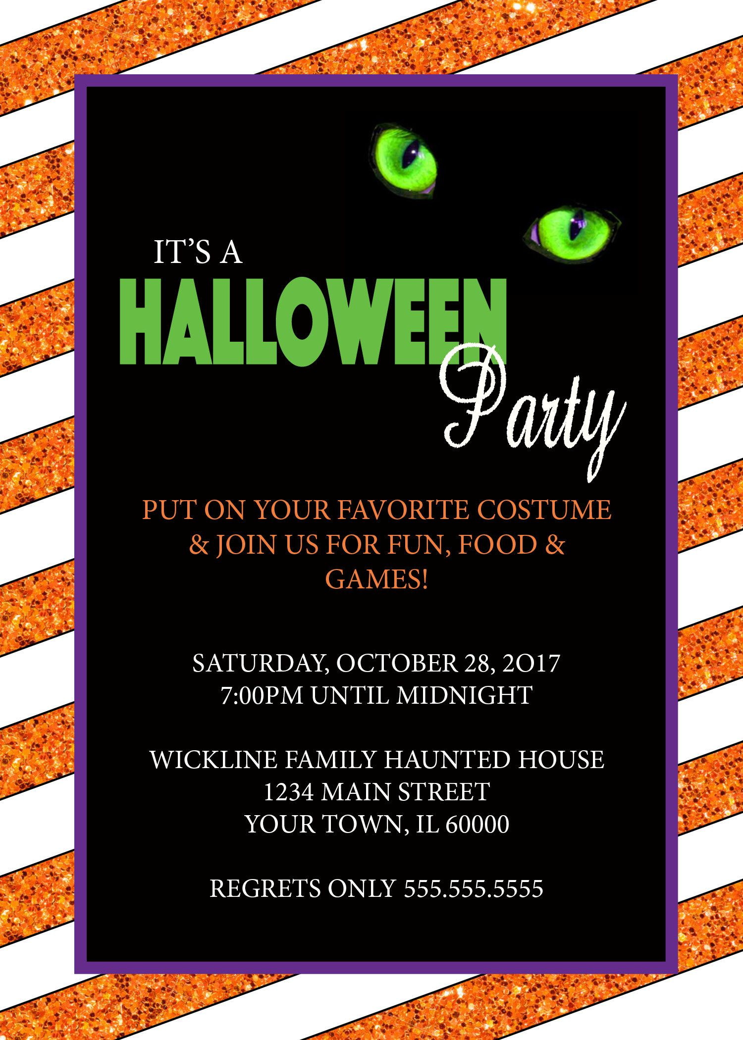 DIGITAL* Glitter Halloween Party Invitation by NicolePartyDesigns on ...
