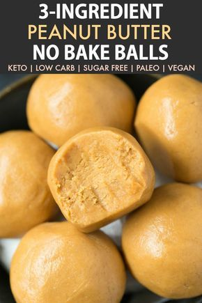 3-Ingredient No Bake Keto Peanut Butter Balls (Paleo, Vegan, Low Carb)- Easy chewy, fudgy no bake peanut butter protein balls recipe ready in 5 minutes and needing 3 ingredients! A quick and easy snack! #peanutbutter #proteinballs #energyballs #ketorecipe | Recipe on thebigmansworld.com #ketorecipes