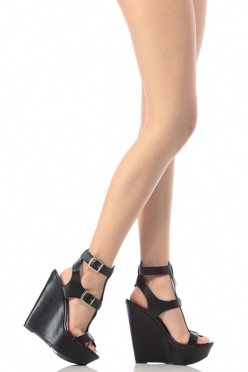 8f8e3c5361 Black Faux Leather Ankle Strap Wedges @ Cicihot Wedges Shoes Store:Wedge  Shoes,Wedge
