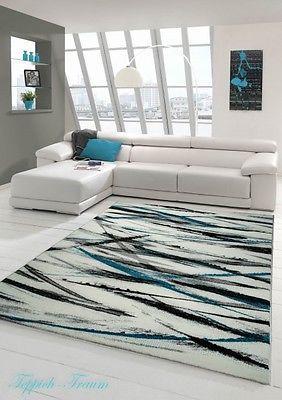 Alfombra moderna 3d con corte de contornos crema turquesa for Sala gris con turquesa