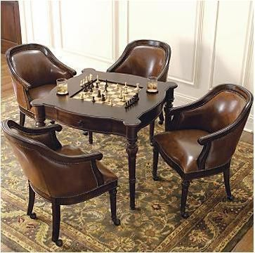Freeman Game Table And Leather Chairs