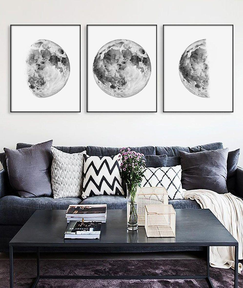 Moon Print Moon Wall Decor Bedroom Wall Decor Living Room Wall