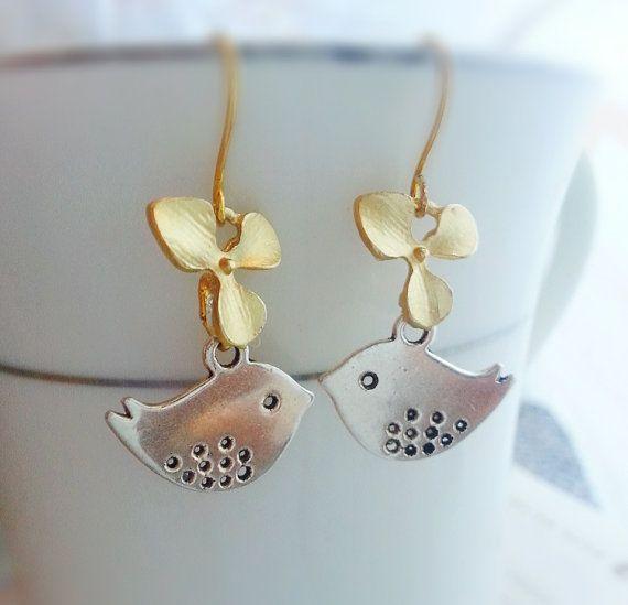 8822f2ff5 BUY 1 GET 1 FREE Silver Sparrow Earrings Orchid by LaDivineBijoux, $25.00  Bird Earrings,
