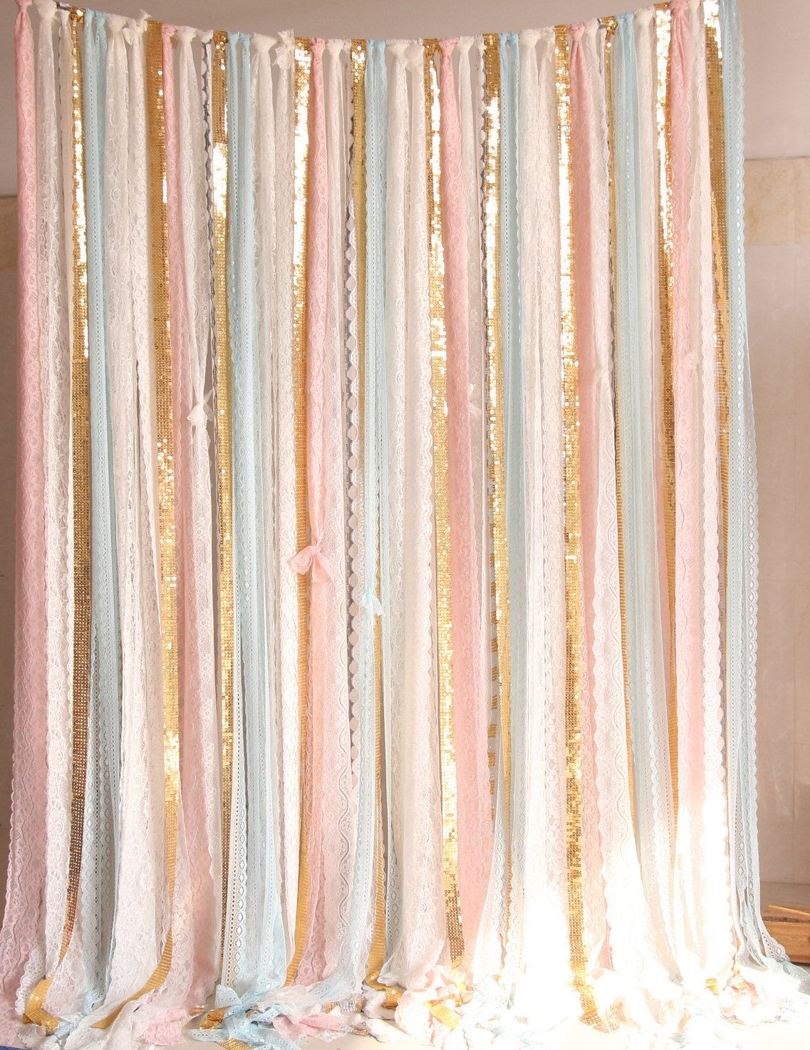 Pink Baby Blue Lace Gold Sparkle Photobooth Backdrop Wedding Ceremony Stage Birthday Baby Shower