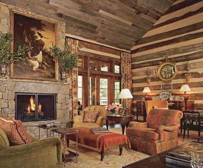 Who wouldn\u0027t want to sit in this log cabin living room? living