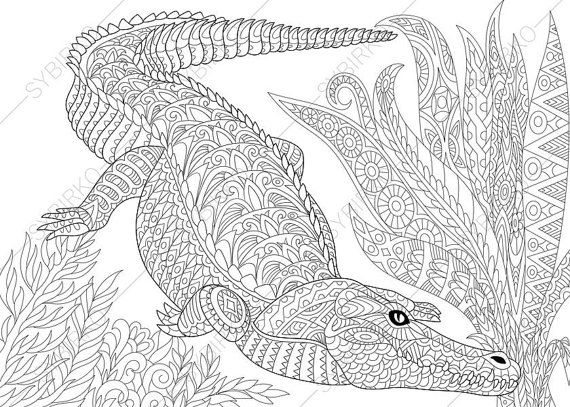 Adult Coloring Pages. Crocodile. Alligator. Zentangle Doodle ...