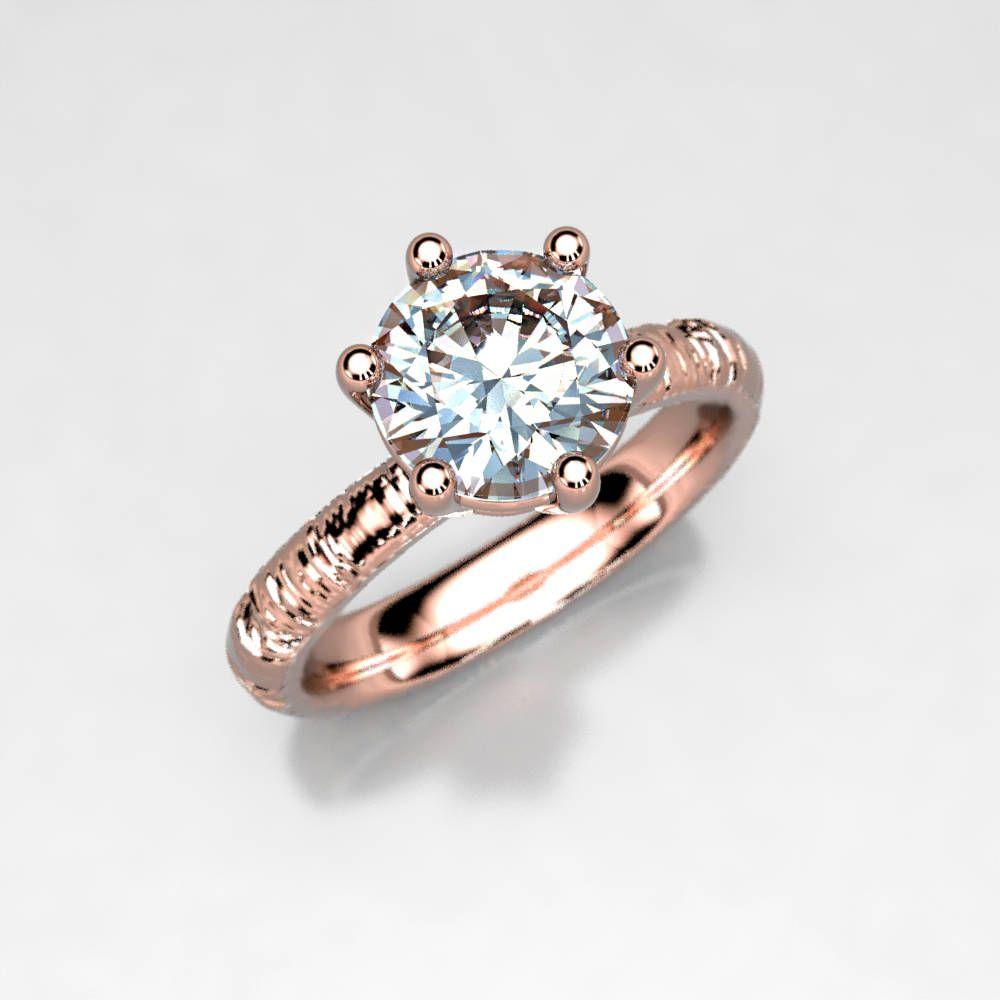 Rose gold twig carat moissanite prong engagement ring wood