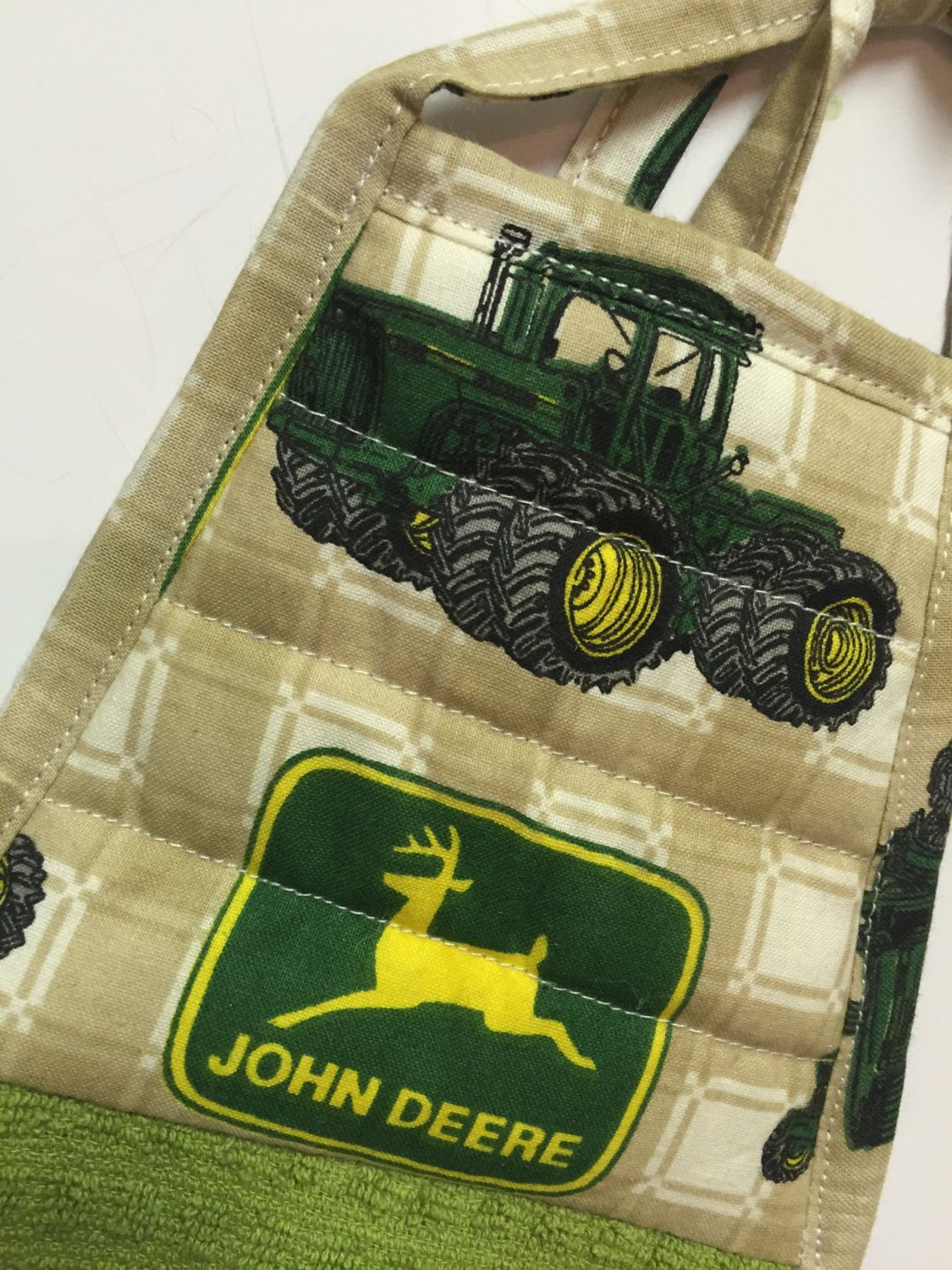 john deere hanging kitchen towel father's day dad gift green towel