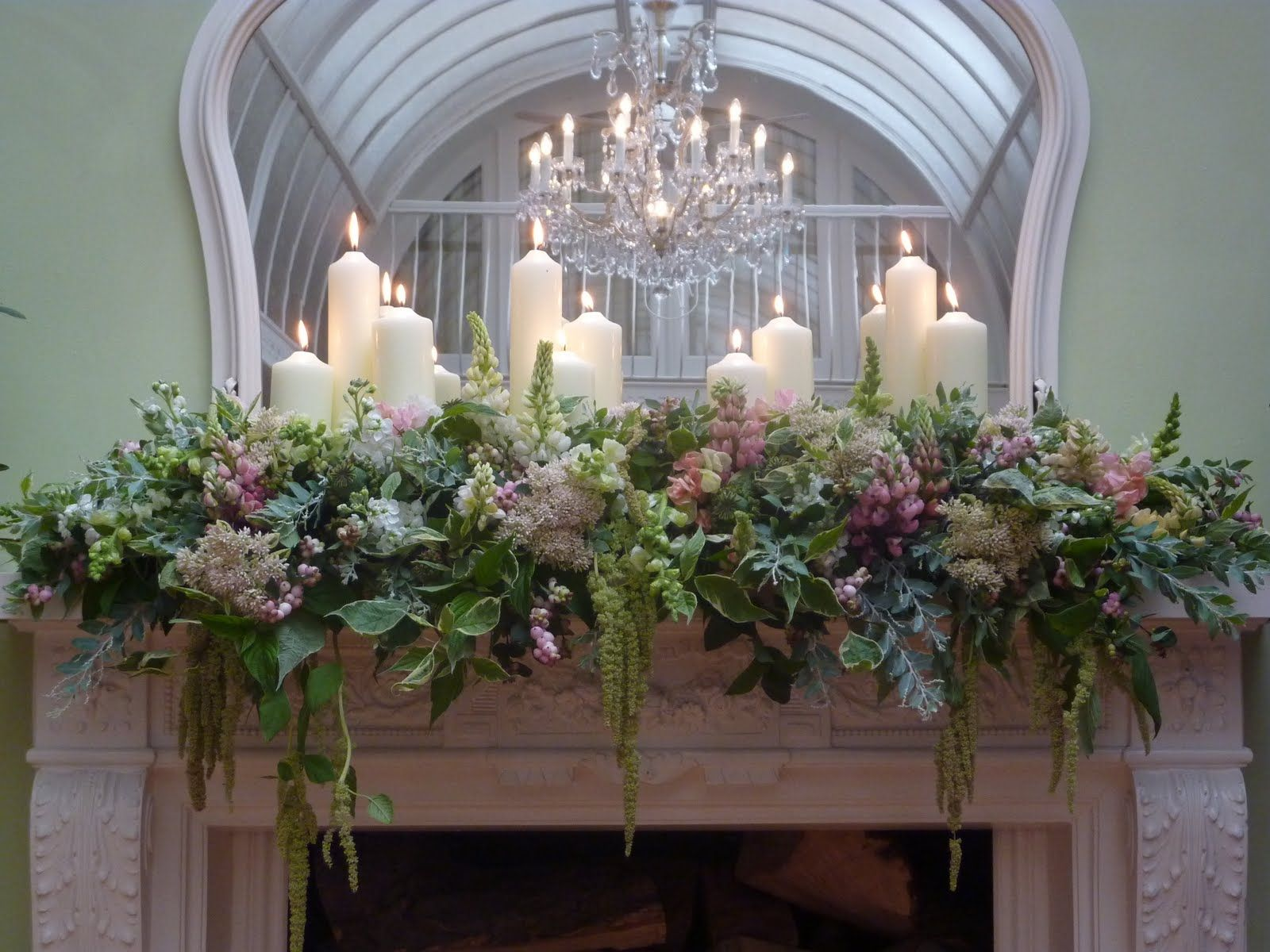 Greens with hints of blue lavender along with white for Wedding flower decoration