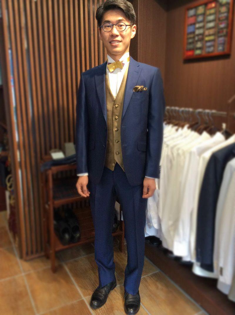 636ad7c15f0d1  ネイビー オーダータキシード完成  結婚式の新郎タキシード 新郎衣装は