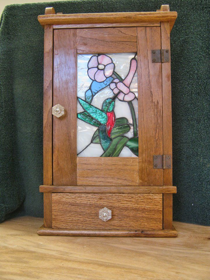 Stained Gl Oak Medicine Cabinet Fused Mosaic