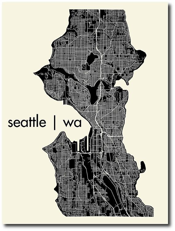 seattle print map For the home Pinterest Print map Seattle