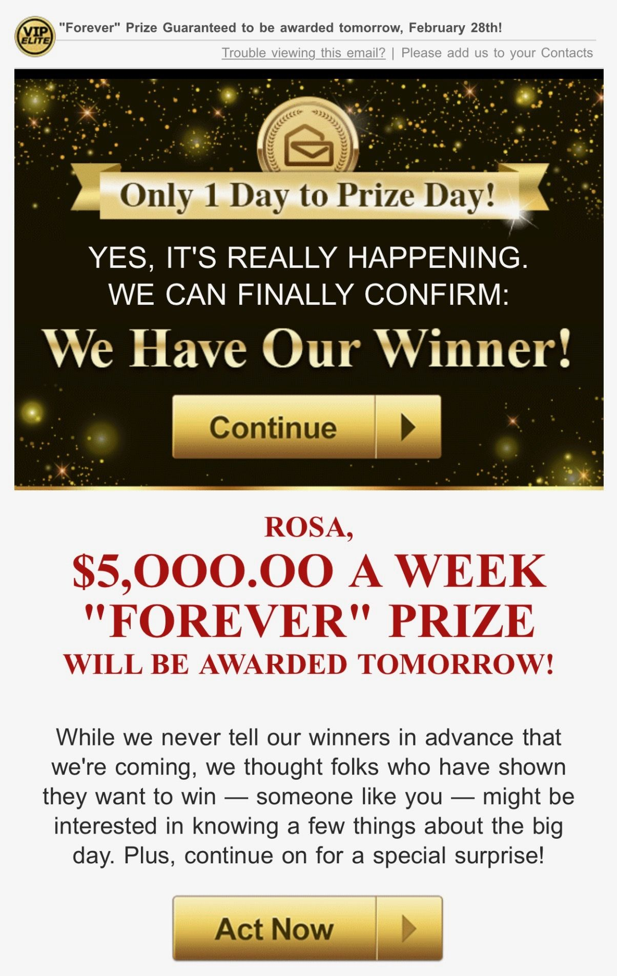 PCH VIP ELITE I Rosa Rojas Claim My SuperPrize Winner Award