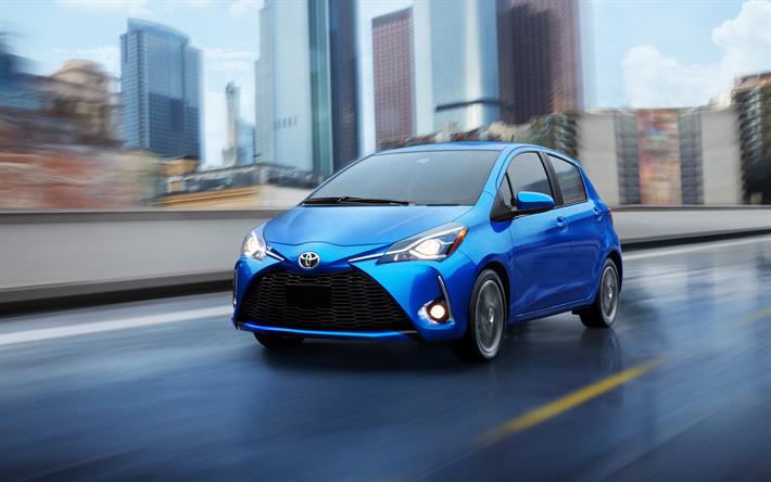Download Wallpapers Toyota Yaris  2018  4k  Exterior