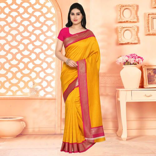36a4f640b53be1 Craftsvilla Yellow Festive Wear Art Silk Solid Saree With Unstitched Blouse