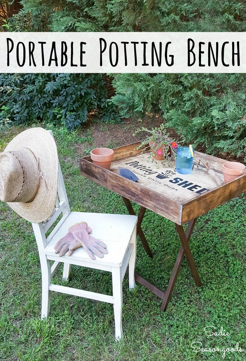 Upcycling A Wooden Tray Table And Shallow Drawer Into A Potting