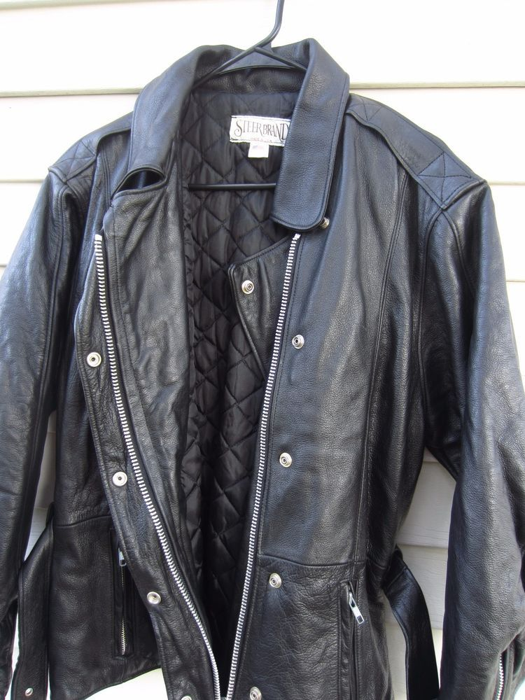 Vintage Black Leather Biker Jacket Mens Extra Large XL Womens XXL / Black Leather Motorcycle Jacket Lined Moto Racing USA 80s 90s Punk muEIxP78bE