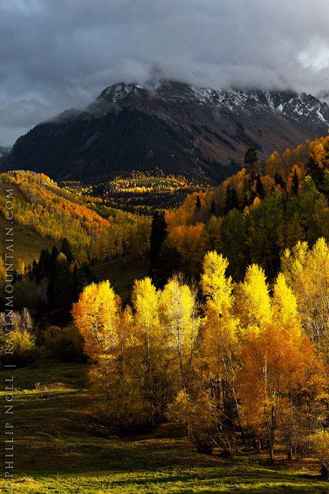 Autumn colors in Dallas Creek Valley, San Juan Mountains, Colorado, United States.