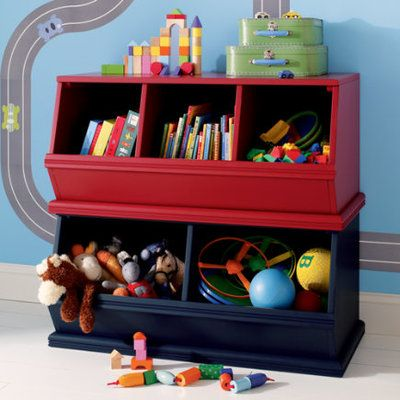 Kids Toy Boxes: Kids Wooden Primary Stacking Storage 2 and 3 Bin - Espresso 2-Bin Palooza by The Land of Nod $149
