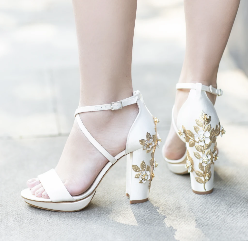 White wedding sandals. Comfortable Leather wedding shoes