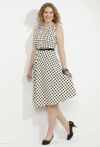 Avenue Scoopneck Polka Dot Dress in Black Dot